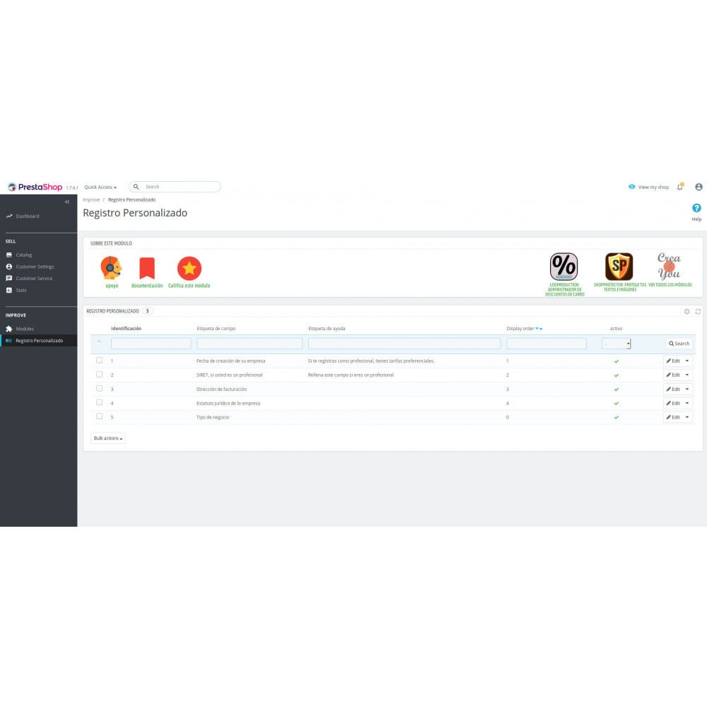 module - Inscripción y Proceso del pedido - Registro Personalizado - 1