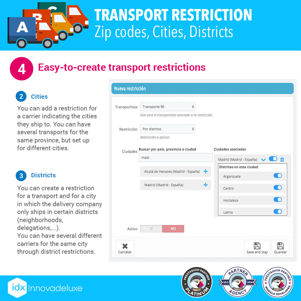 module - Transporteurs - Restricting Carriers by Zip Code, District, or City - 6