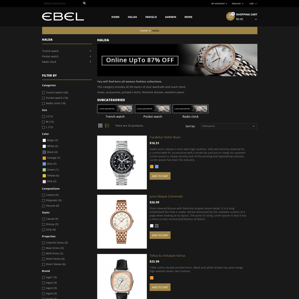 theme - Fashion & Shoes - Ebel Watch Store - 5