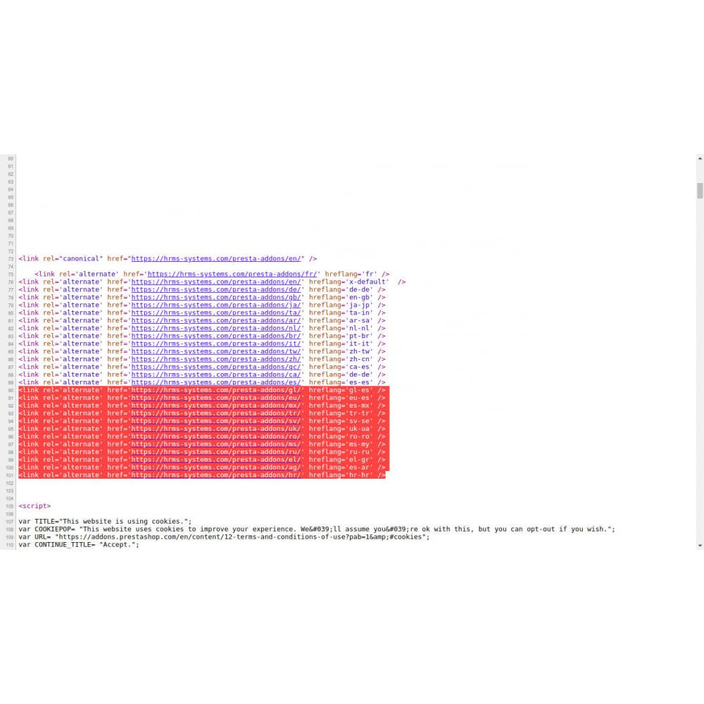 module - SEO (Pozycjonowanie naturalne) - Hreflang i kanoniczne tagi na wszystkich stronach - 4