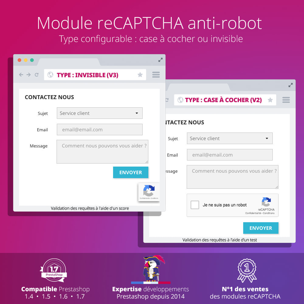 module - Sécurité & Accès - re Captcha - Anti Spam - recaptcha - anti faux comptes - 2