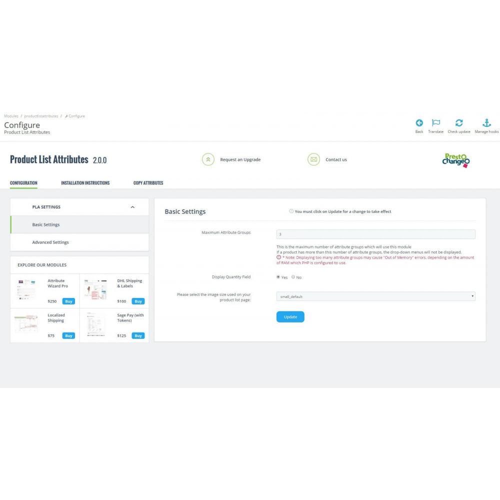 module - Déclinaisons & Personnalisation de produits - Product List Attributes - 3