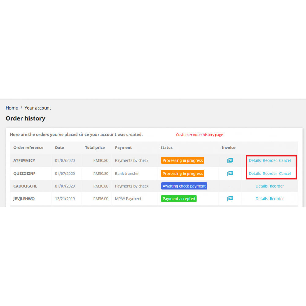 module - Iscrizione e Processo di ordinazione - Cancel Order - 4