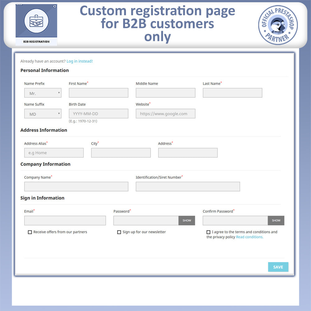 module - Registration & Ordering Process - B2B Registration - 3