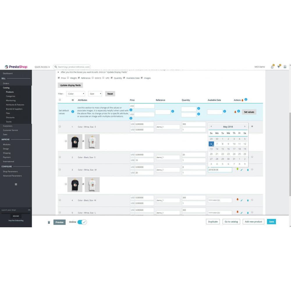 module - Versies & Personalisering van producten - Mass Combination Editor - 1