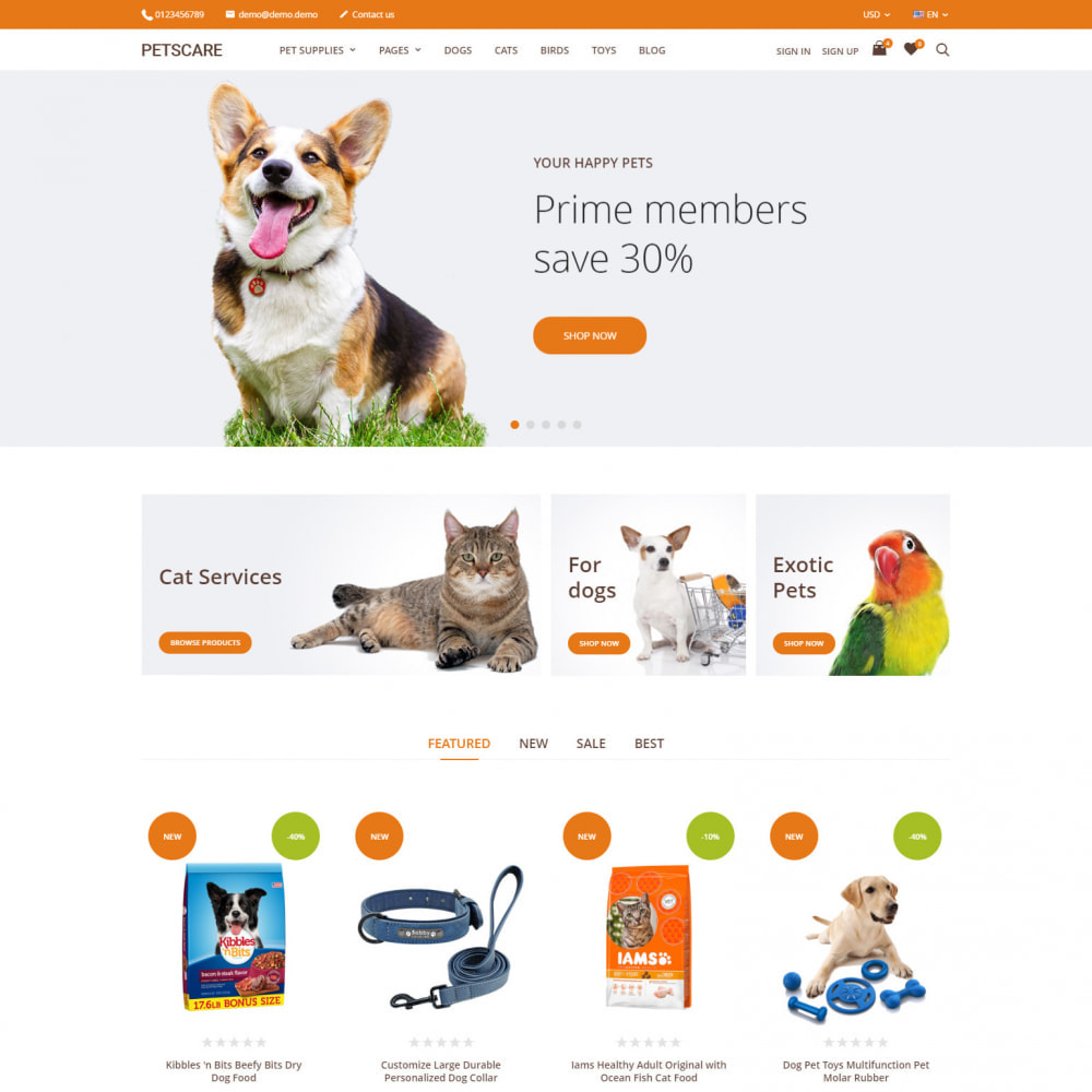 theme - Animaux - PetsCare - Magasin d'animaux - 1