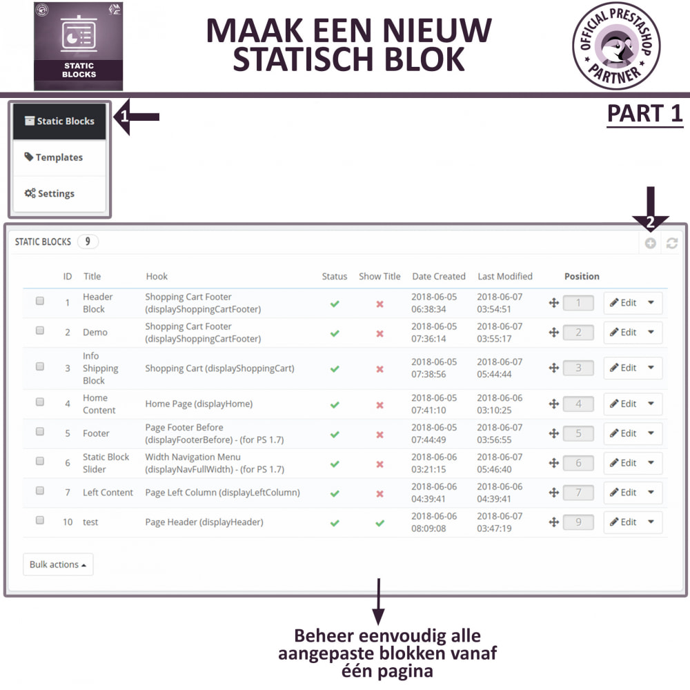 module - Blokken, Tabbladen & Banners - Statische Blok - HTML, Tekst- en Multimedia Blokken - 11