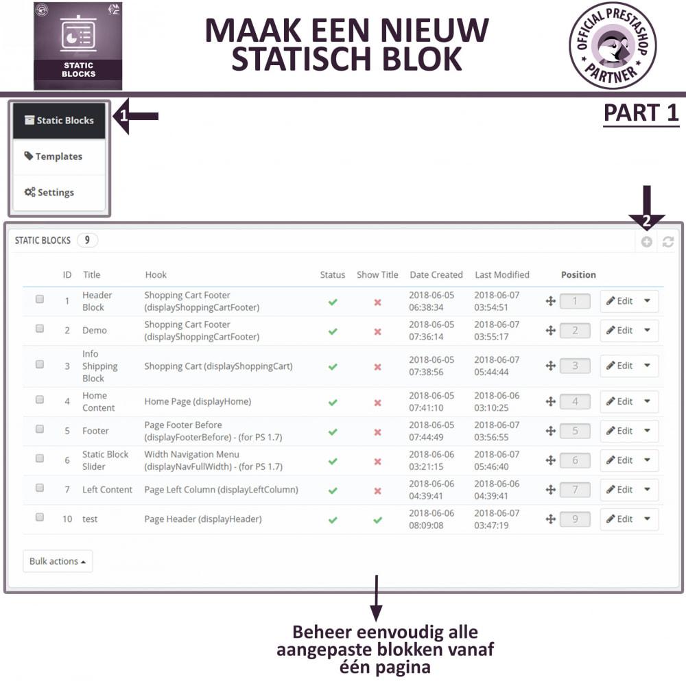 module - Blokken, Tabbladen & Banners - Statische Blok - HTML, Tekst- en Multimedia Blokken - 16
