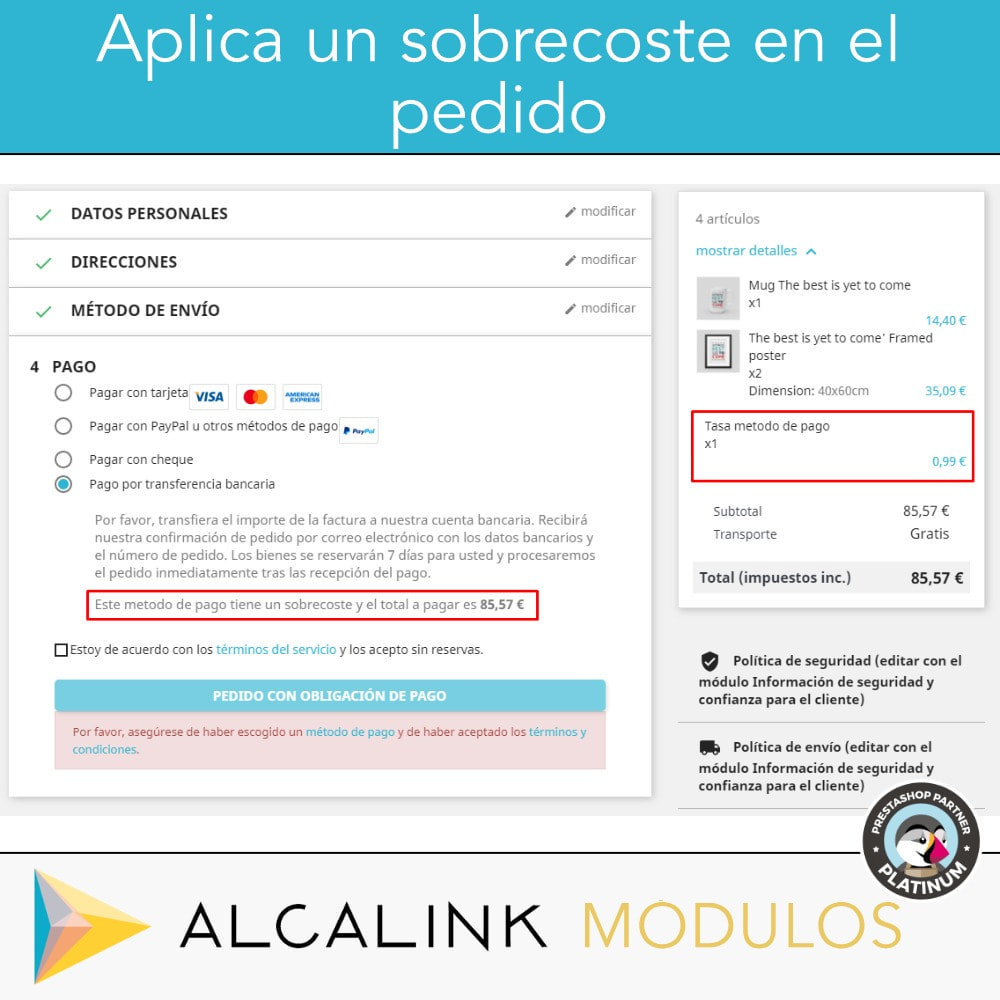 module - Pago con Tarjeta o Carteras digitales - Métodos de pago con recargo - Compatible PS Checkout - 4