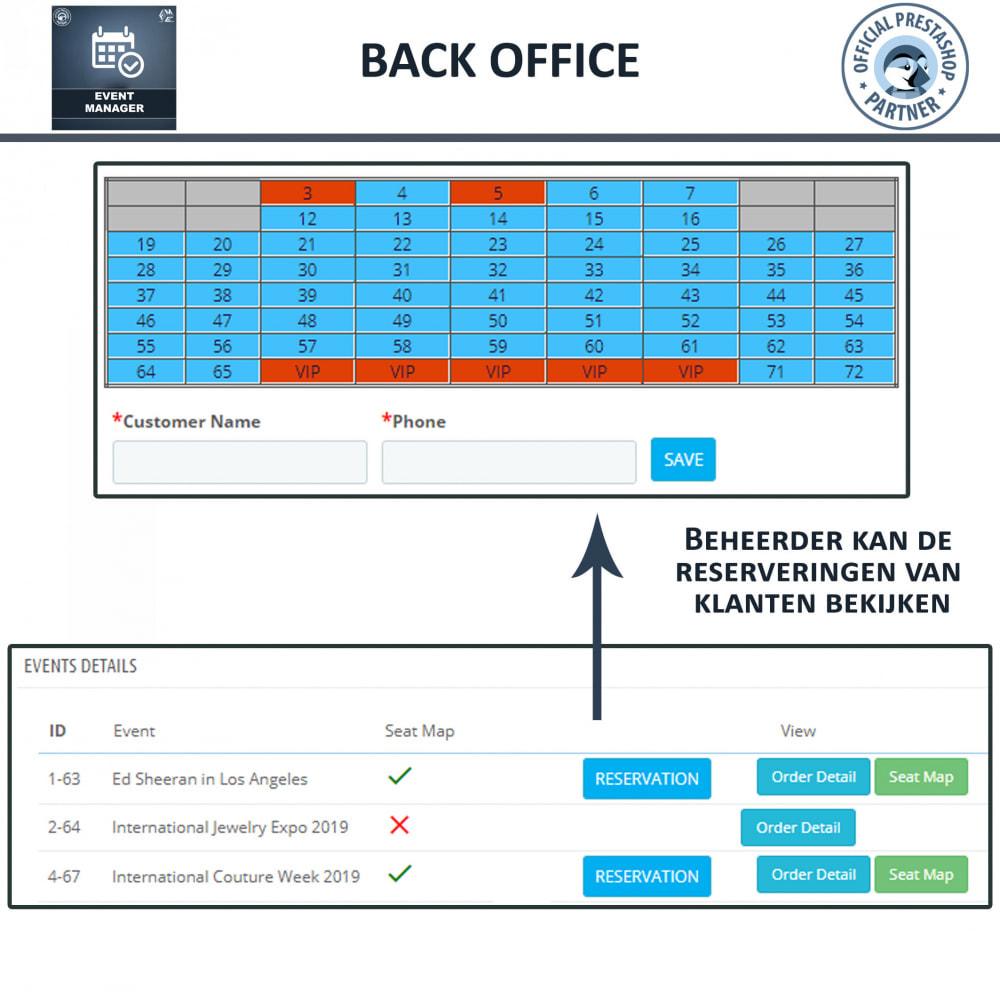 module - Verhuur en reserveringen - Evenementen Manager, Maak Evenementen en Verkoop Ticket - 11