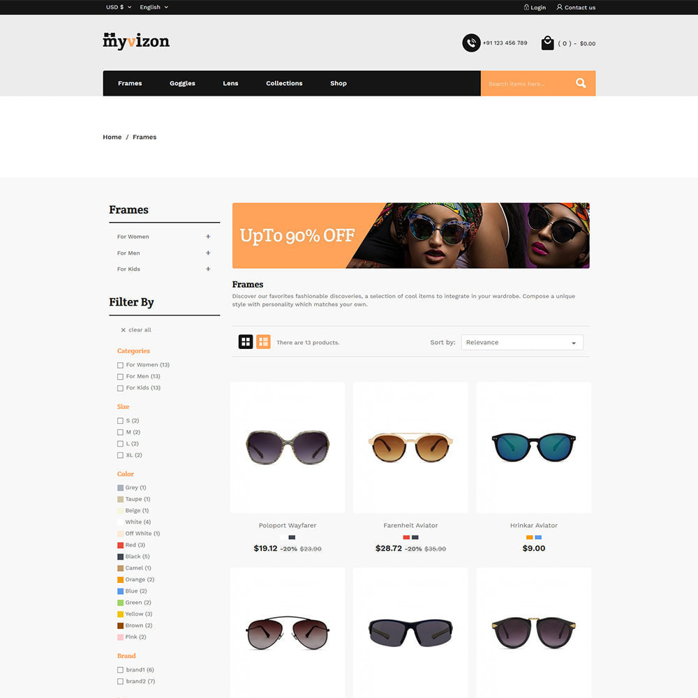 theme - Fashion & Shoes - Eye Sunglasses - Lens  Frame Glass Store - 3