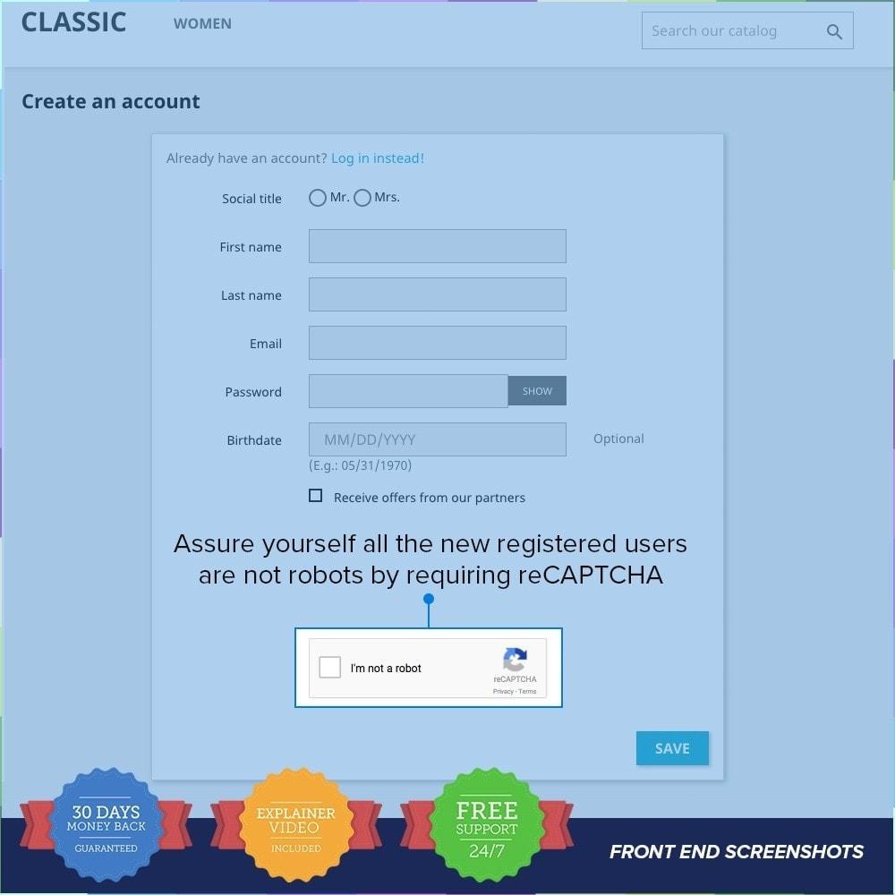 module - Seguridad y Accesos - reCAPTCHA PRO - Simple - Seguro - 4