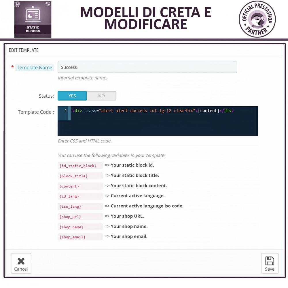 module - Blocchi, Schede & Banner - Blocchi Statici - Aggiungi HTML, Testi e Media Blocchi - 14