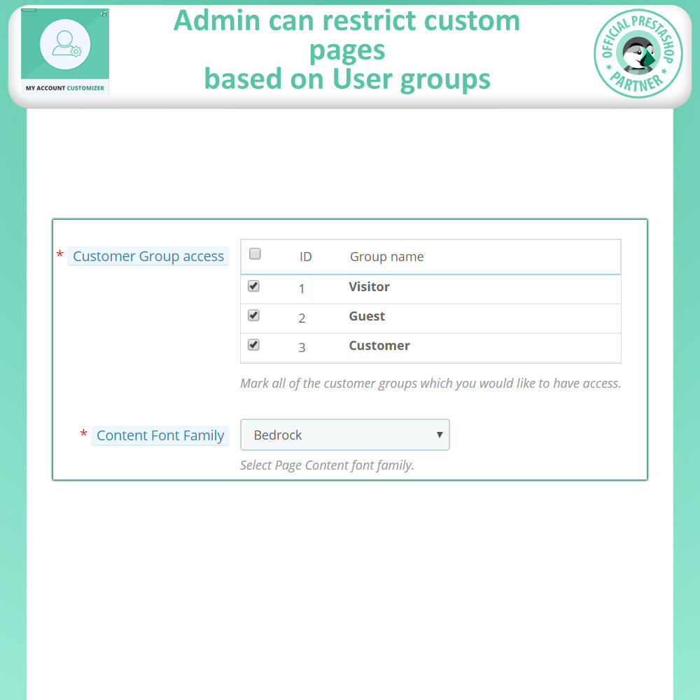 module - Administrative Tools - My Account Customizer - 8
