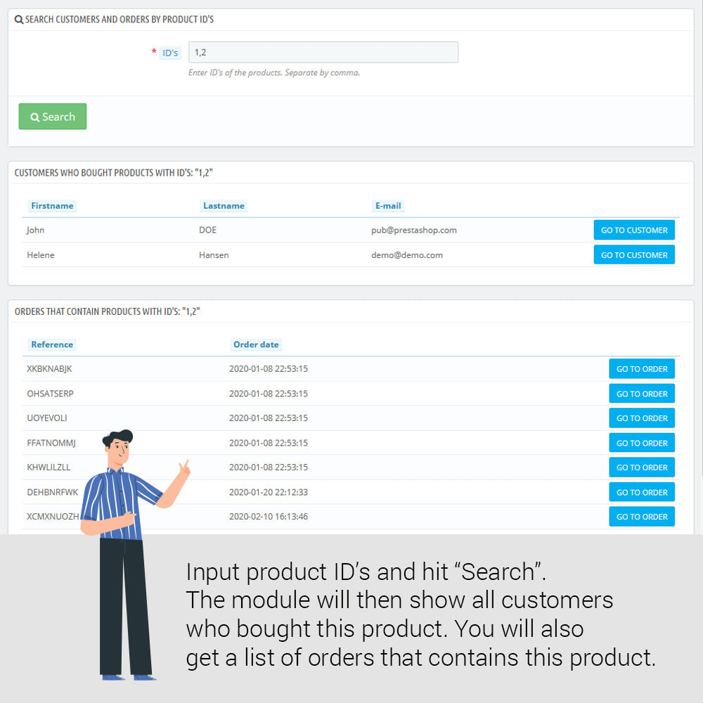module - Управления учетными записями клиентов - Find customers who bought a product - 2