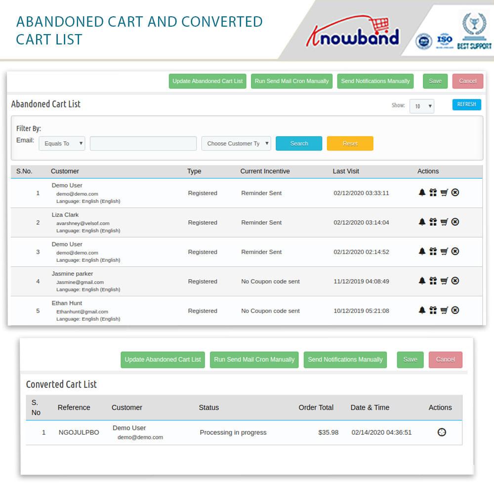 module - Перенаправление и Брошенные корзины - Knowband - Abandoned Cart Serial Reminders (Smart) - 1