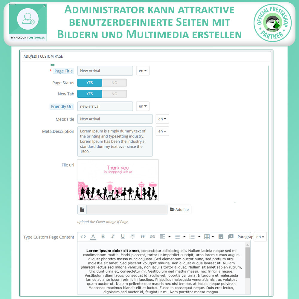 module - Administrationstools - Meine Konto-Anpassung - 6