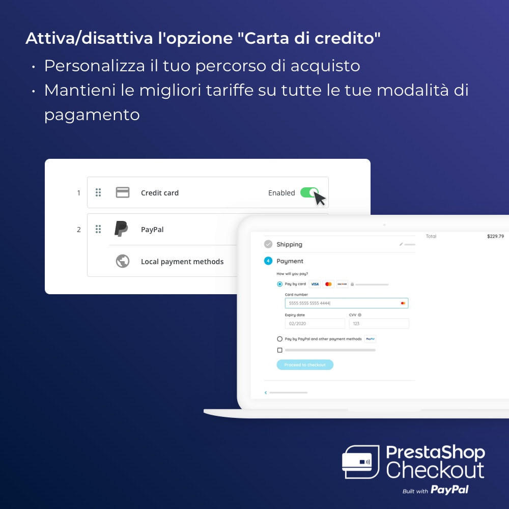 module - Pagamento con Carta di Credito o Wallet - PrestaShop Checkout built with PayPal - 7