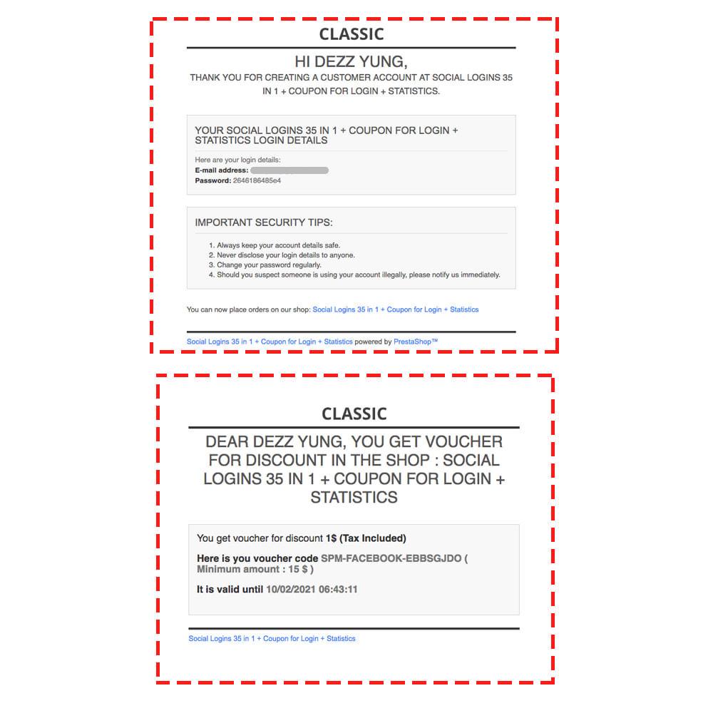 module - Módulos de Botões de Login & Connect - Social Logins 35 in 1, Discounts, MailChimp, Statistics - 6