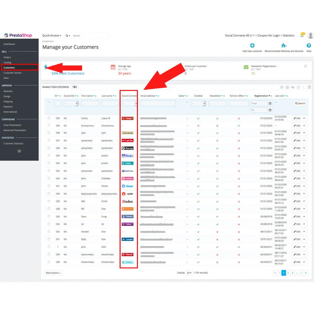 module - Módulos de Botões de Login & Connect - Social Logins 35 in 1, Discounts, MailChimp, Statistics - 16