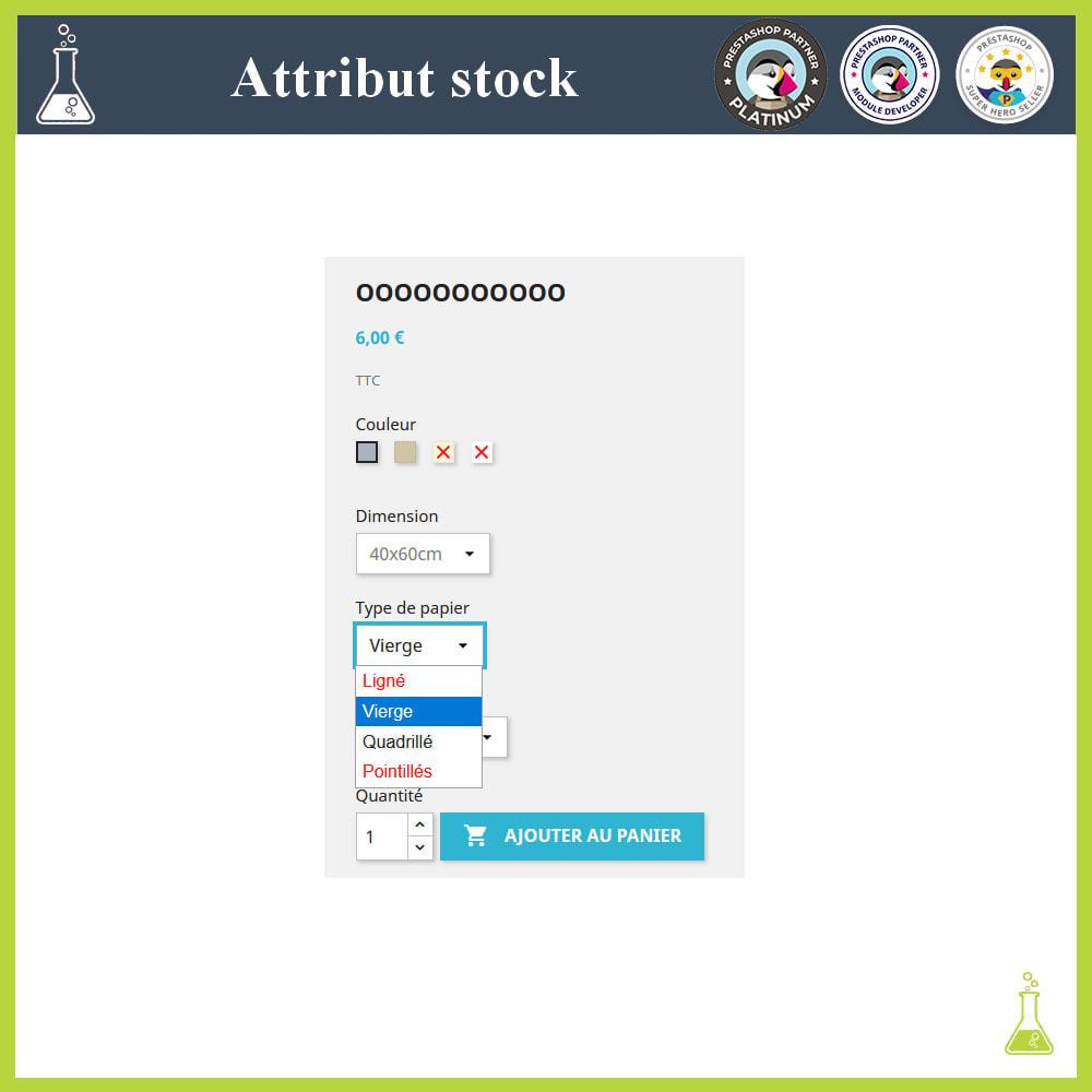 module - Déclinaisons & Personnalisation de produits - Affichage de déclinaisons/attributs avec stock - 2