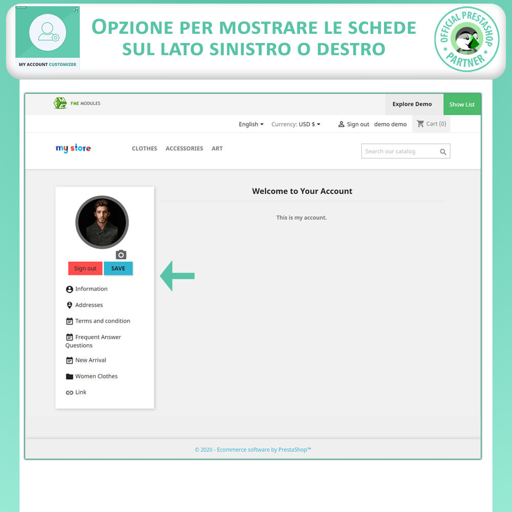 module - Amministrazione - Il Mio Account Customizer - 2
