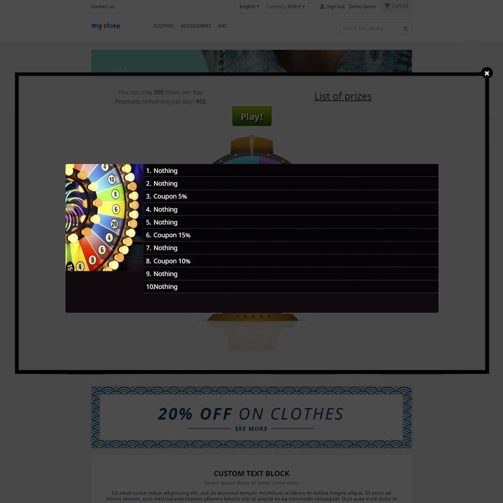 module - Contests - Wheel of Fortune, discounts and gifts to customers - 5