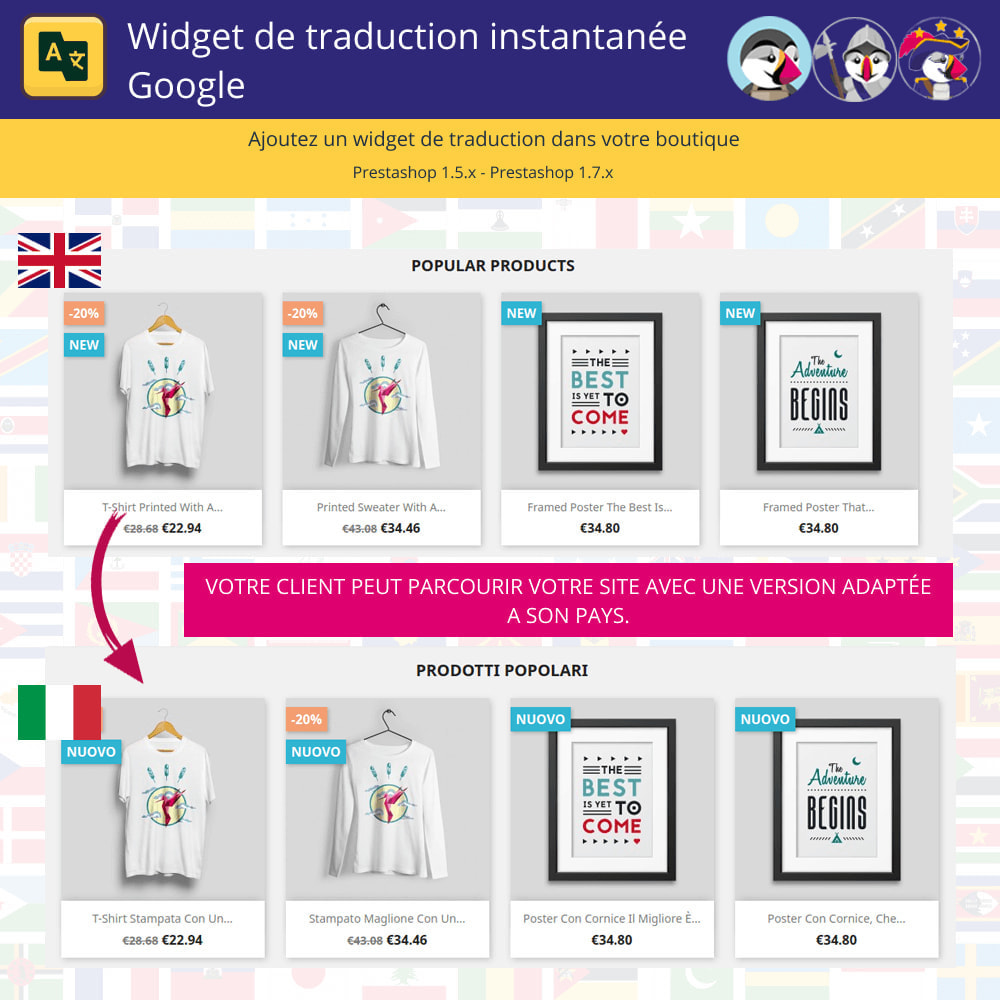 module - International & Localisation - Widget de traduction instantanée de Google - 1