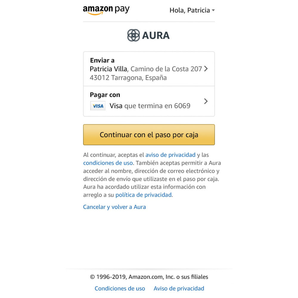 module - Pago con Tarjeta o Carteras digitales - Amazon Pay (Checkout v2) - 3