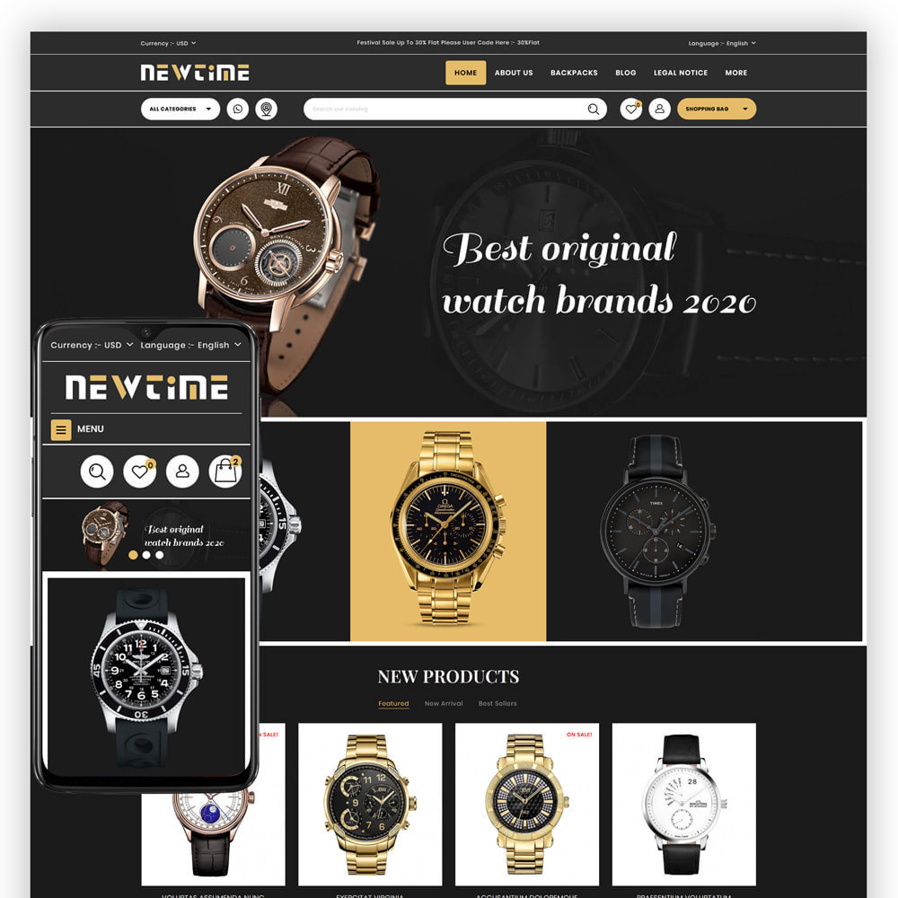 theme - Bellezza & Gioielli - Newtime - Watch Store - 1
