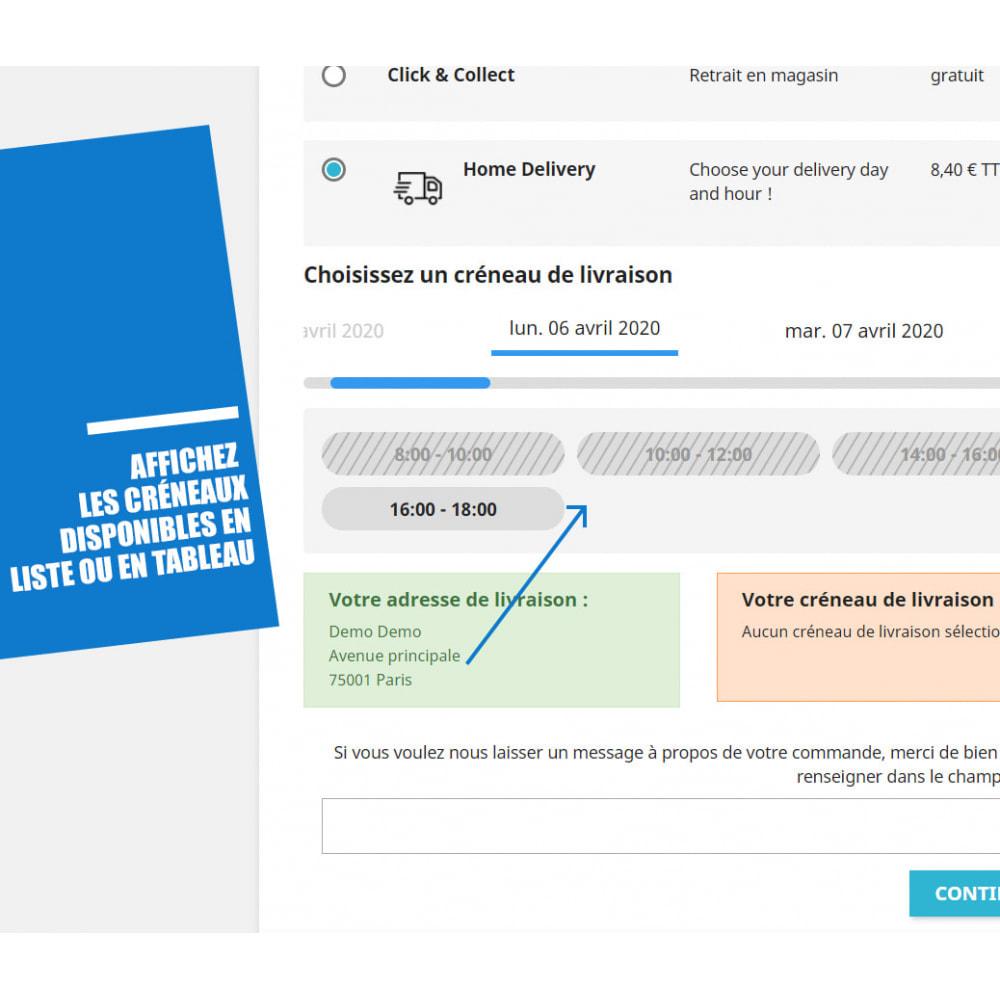 module - Date de livraison - Créneaux de livraison par zones, codes postaux et coût - 4