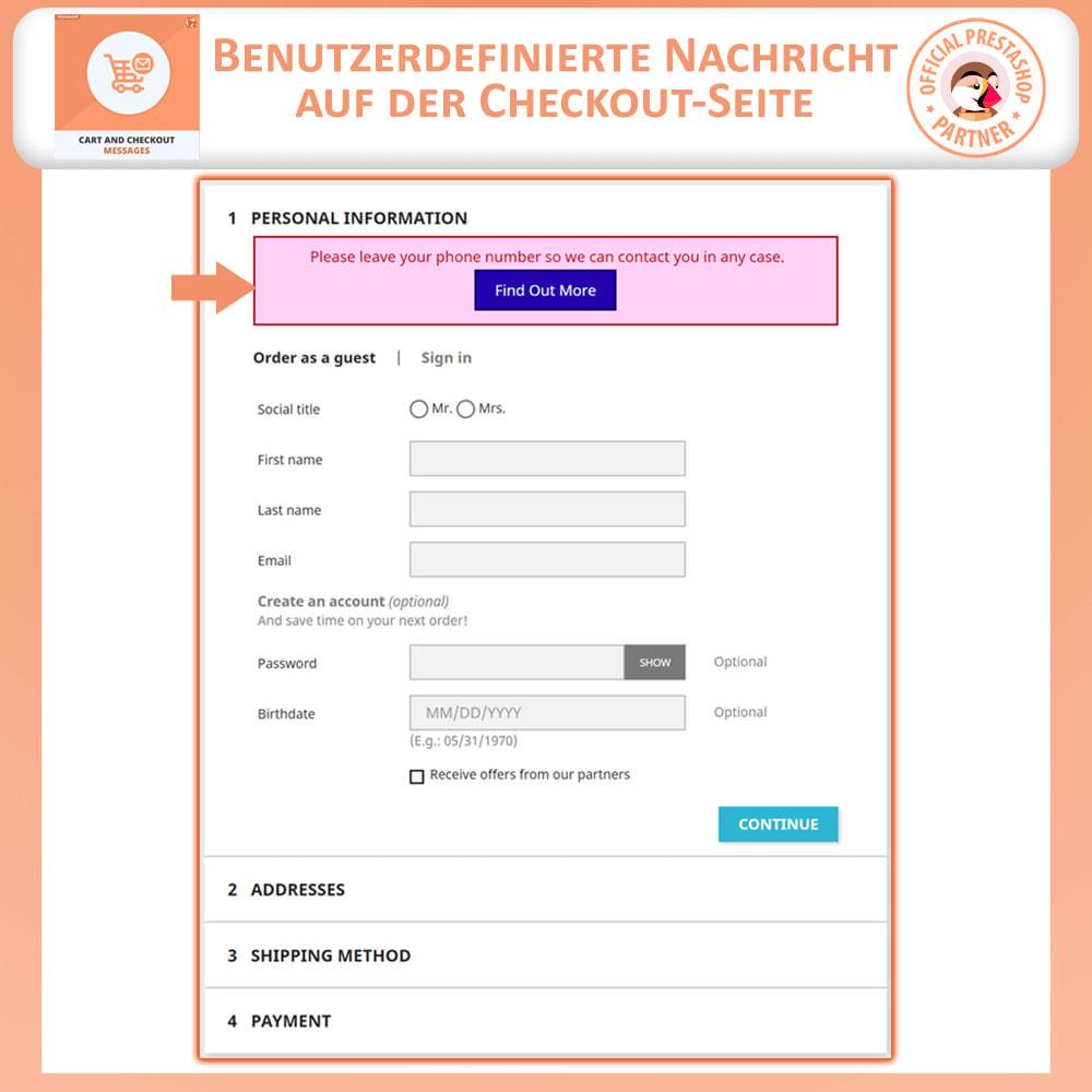 module - Anmeldung und Bestellvorgang - Warenkorb und Checkout-Nachrichten - 3
