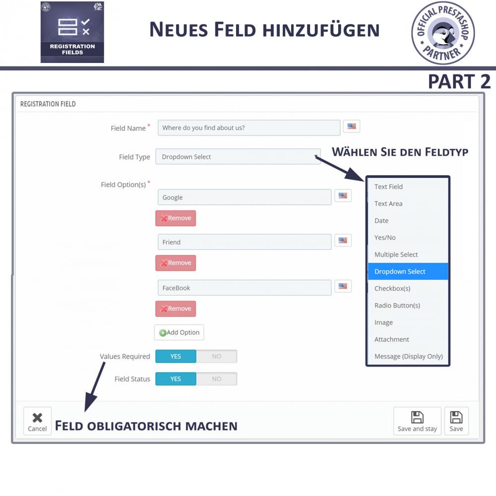 module - Anmeldung und Bestellvorgang - Registrierung Felder, Fügen Sie Kundenattribute - 11