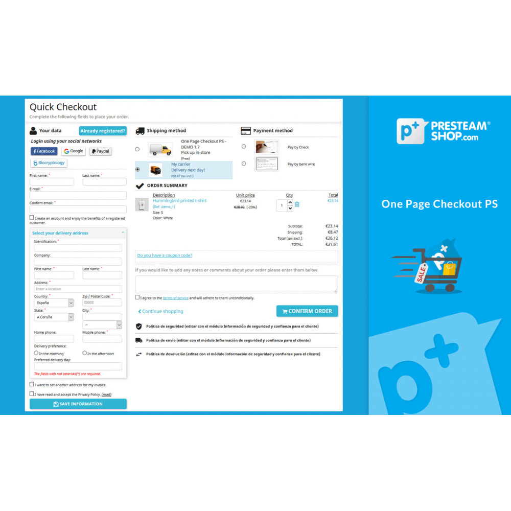 module - Processus rapide de commande - One Page Checkout PS (Easy, Fast & Intuitive) - 1