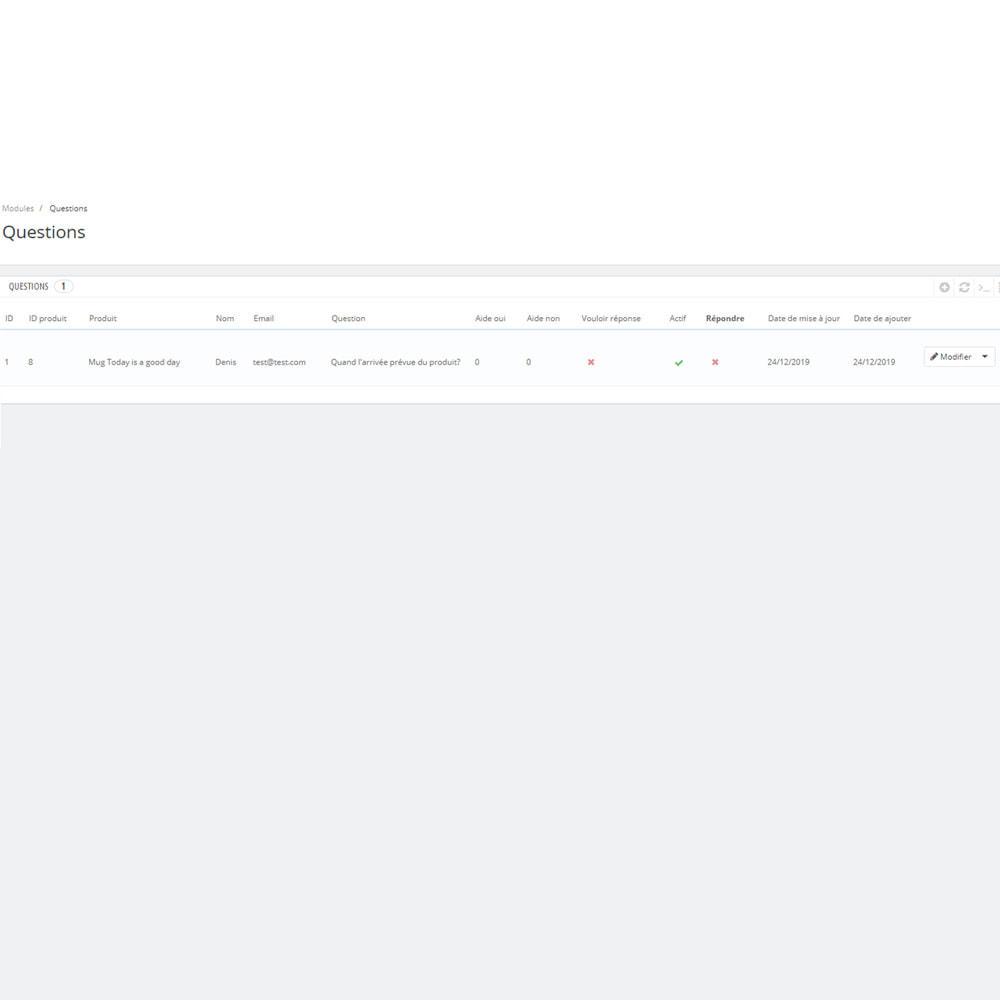module - FAQ (questions fréquentes) - Réponse à la question dans le produit - 6
