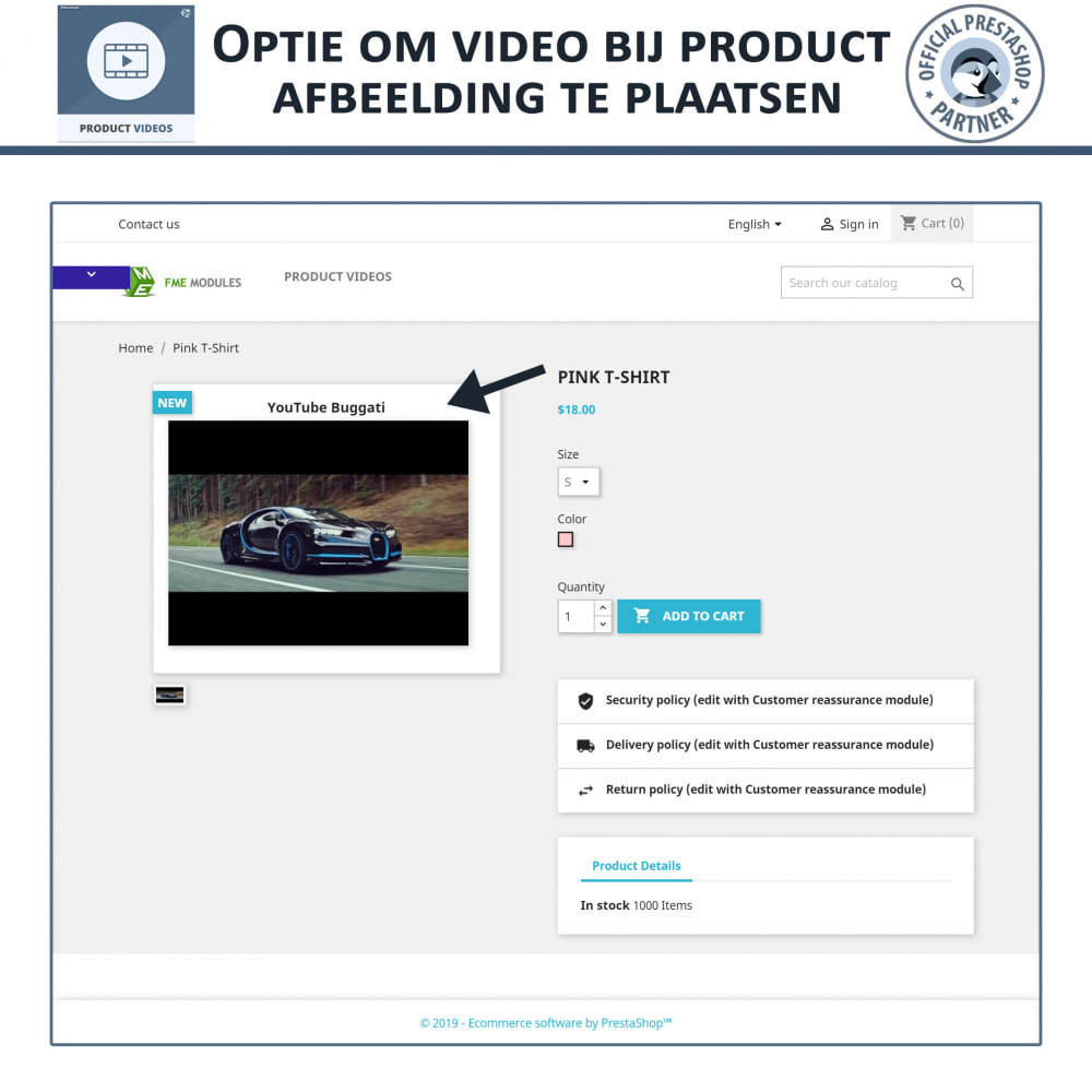 module - Video's & Muziek - Productvideo's - Upload of sluit YouTube, Vimeo in - 3