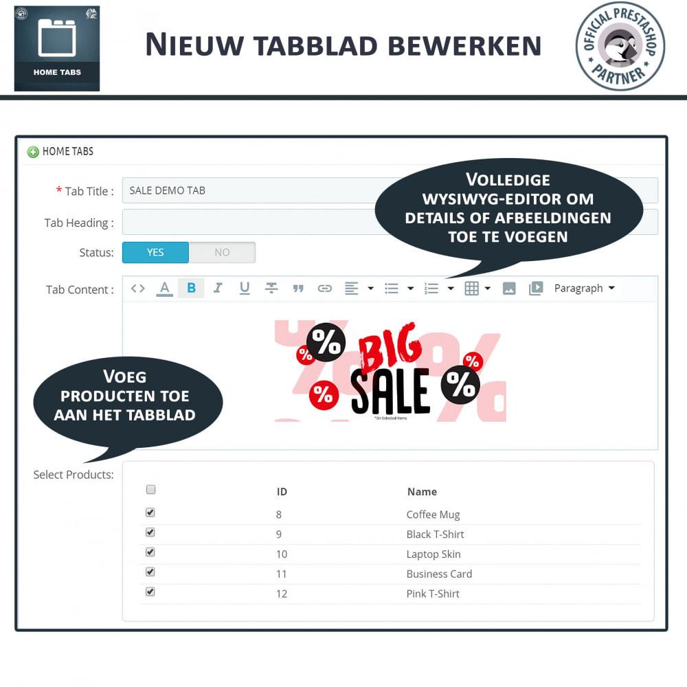 module - Blokken, Tabbladen & Banners - Home-Tabbladen - Voeg aangepaste tabbladen toe - 6