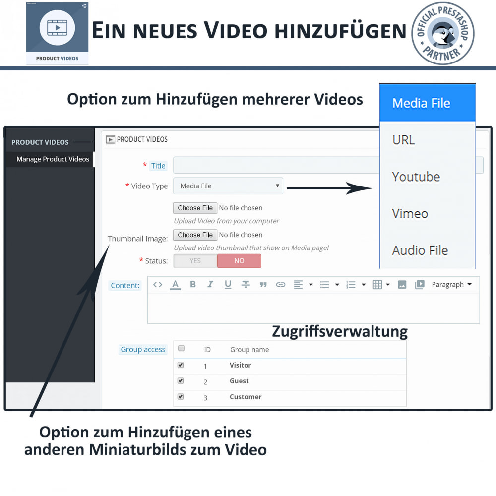 module - Videos & Musik - Product Videos - Upload or Embed YouTube, Vimeo - 11