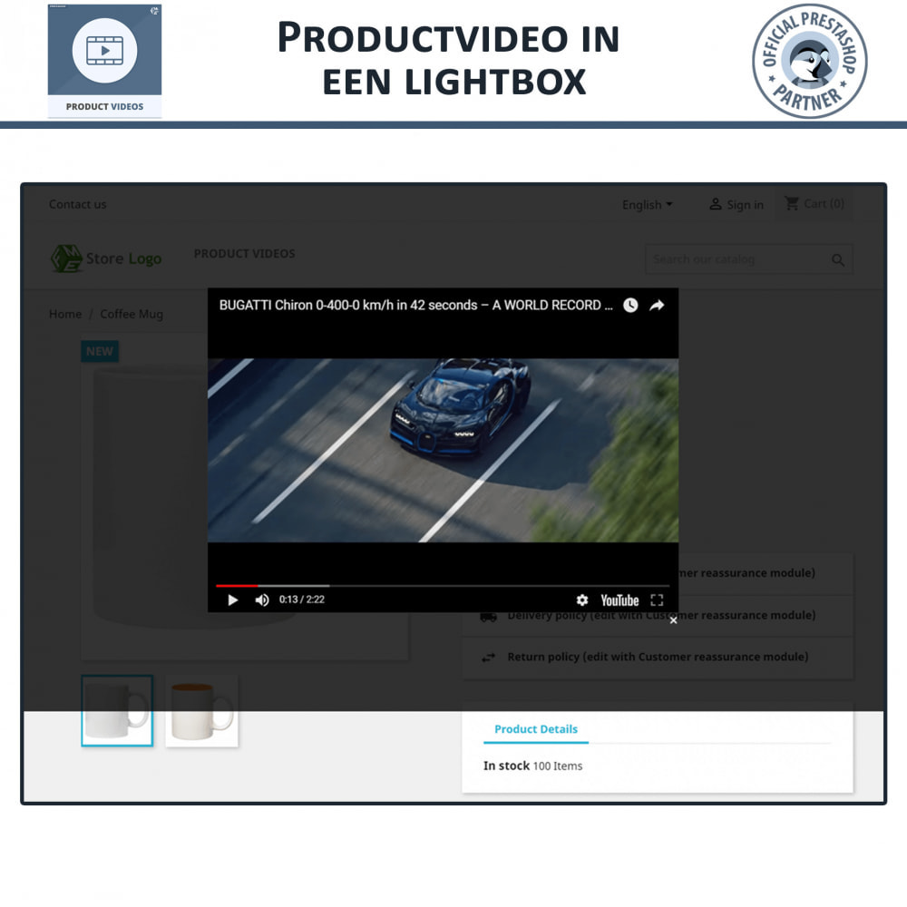 module - Video's & Muziek - Productvideo's - Upload of sluit YouTube, Vimeo in - 5