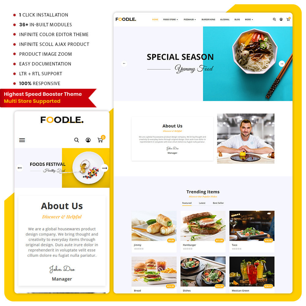 theme - Lebensmittel & Restaurants - Foodle Aliments Restaurant–Food Delivery Store - 1