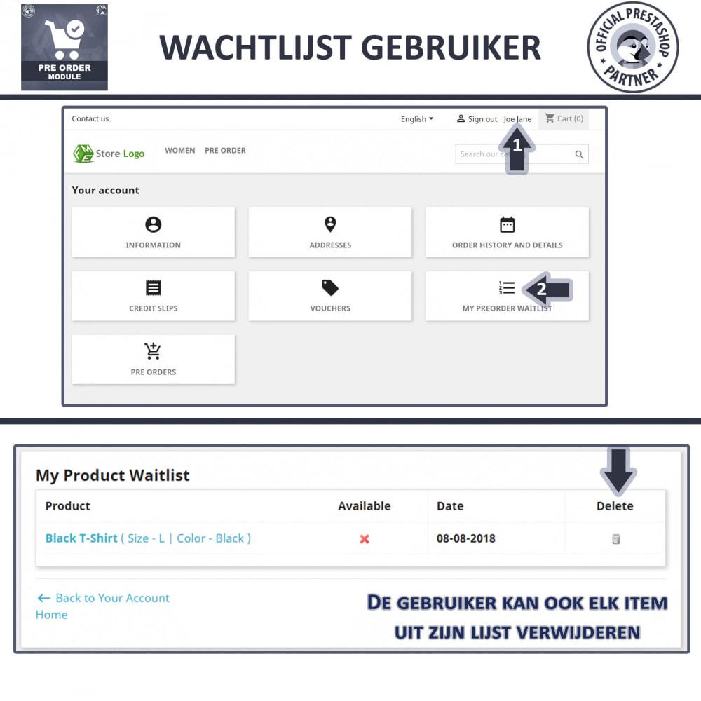 module - Registratie en Proces van bestellingen - Vooruit Bestellen en Wachtlijst Notificatie - 7