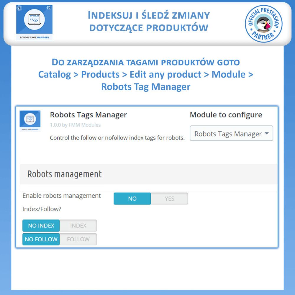 module - SEO (Pozycjonowanie naturalne) - Meta Robot Tags - NoFollow NoIndex Manager - 5