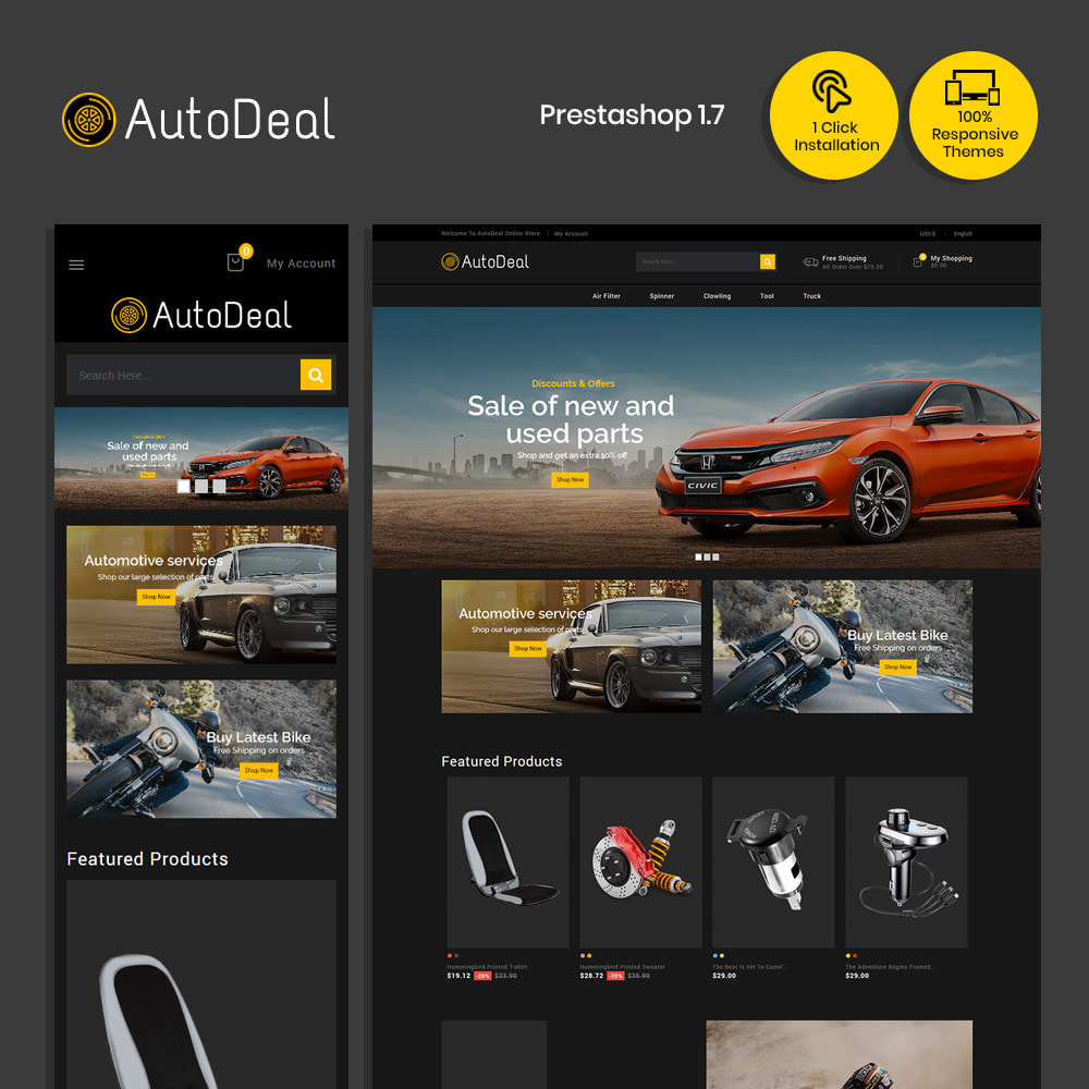theme - Carros & Motos - Autodeal Car Parts  - Auto Store - 1