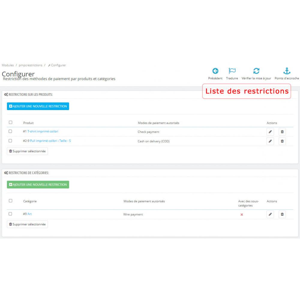 module - Autres moyens de paiement - Restriction des modes de paiement par produit/catégorie - 1