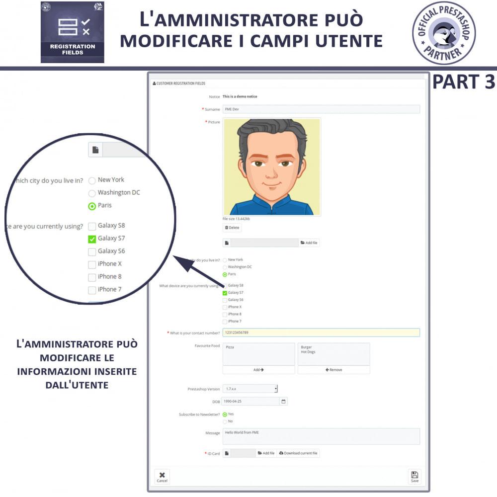 module - Iscrizione e Processo di ordinazione - Campi di Registrazione Personalizzati - Convalida - 9