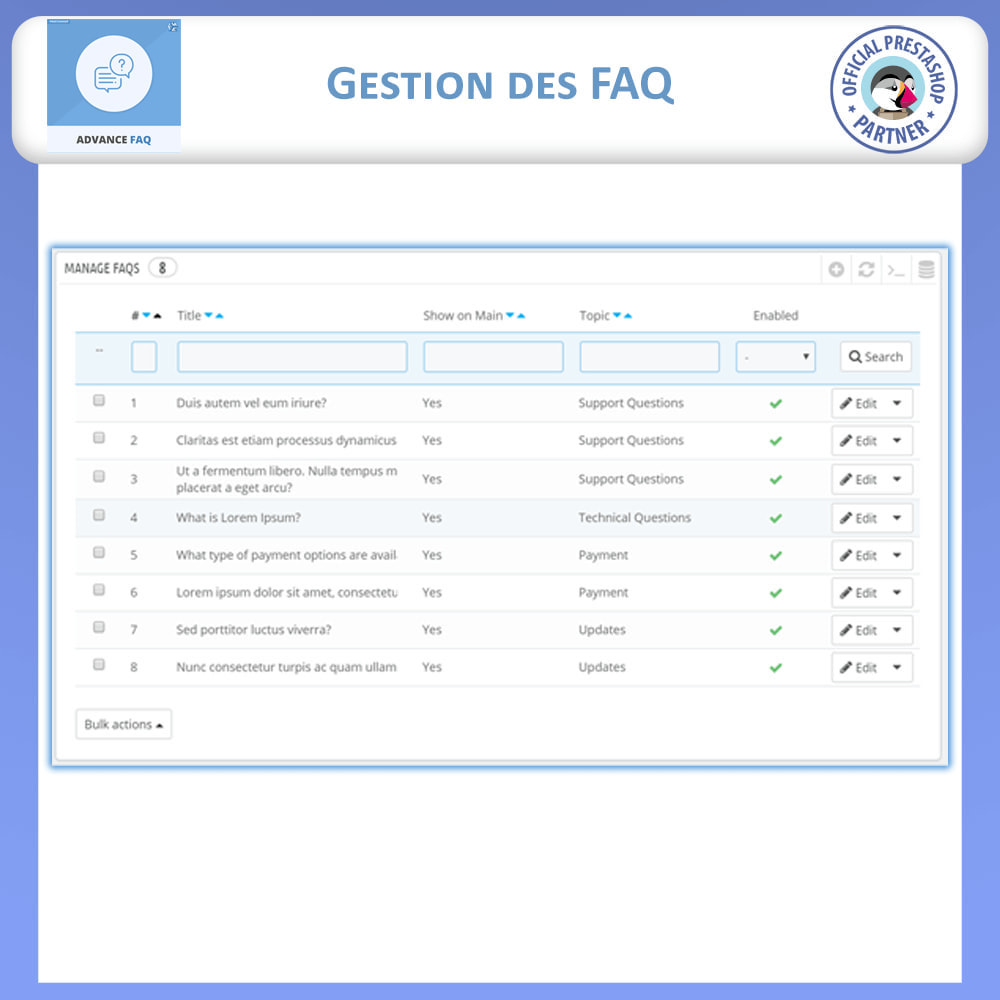 module - FAQ (questions fréquentes) - FAQ Avancée - 10