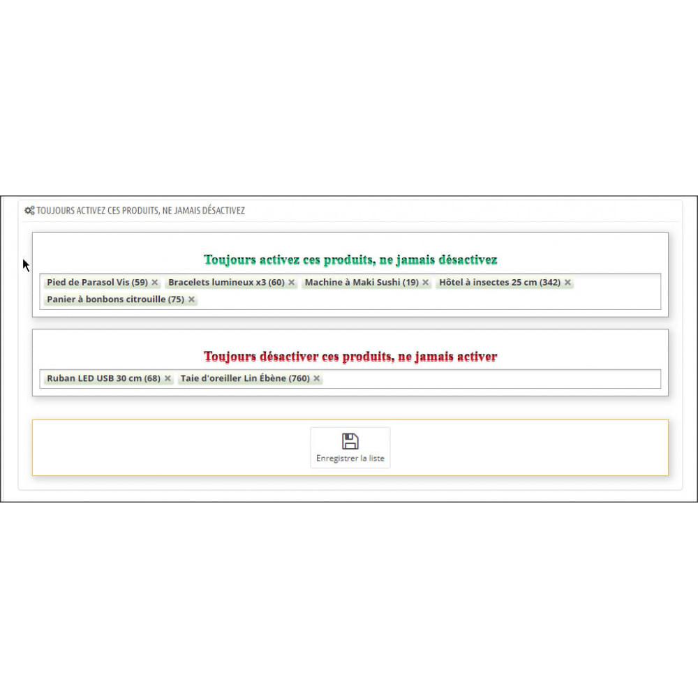 module - Gestion des Stocks & des Fournisseurs - Activer ou désactiver les produits automatiquement - 7