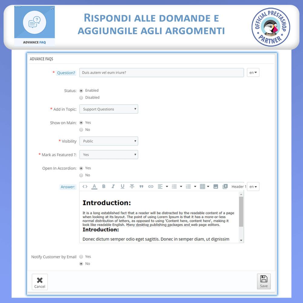 module - FAQ (Domande Frequenti) - Avanzate FAQ – Crea una Pagina Dedicata per FAQ - 13