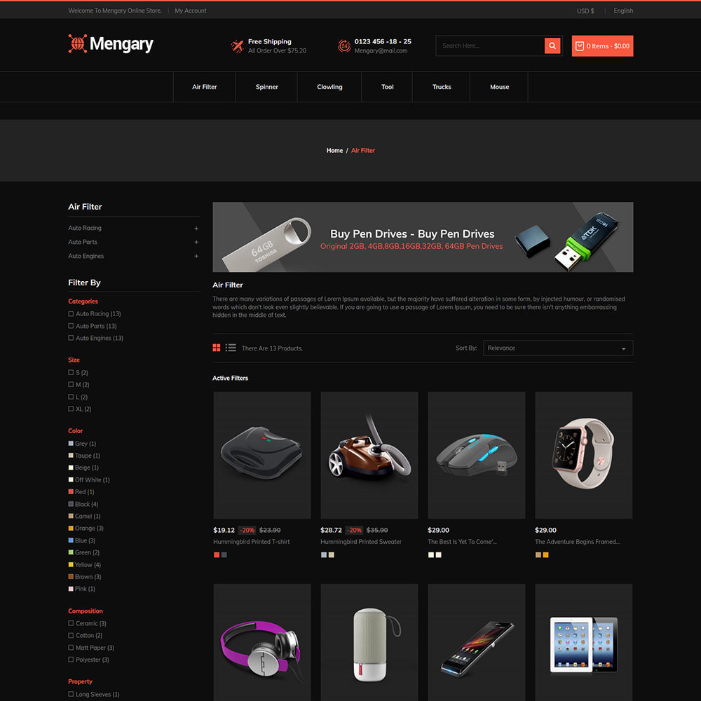 theme - Automotive & Cars - Black  Computer - Mobile  Electronics  Store - 4