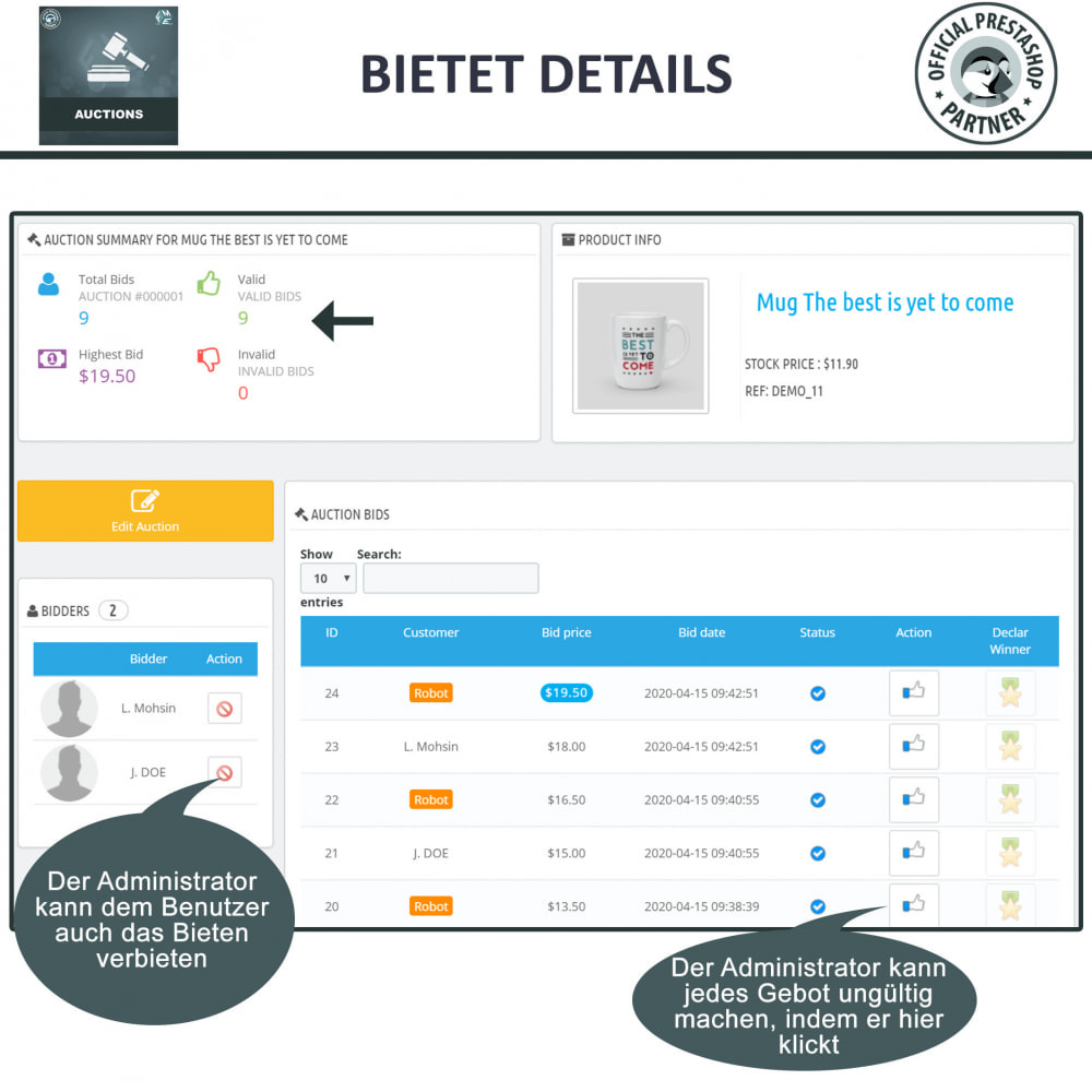 module - Auktionsseiten - Auktion Pro, Online-Auktions und Gebotsmanagement - 22